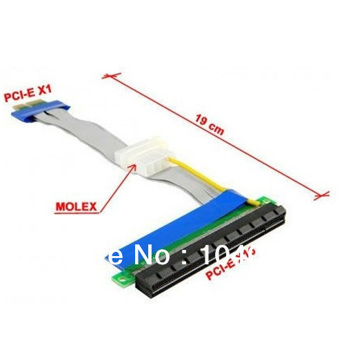 2pcs/lot PCI-E Express 1X to X16 Riser Card Flexible ribbon Extender Cable with molex power supply cable for bitcoin miner seven wonders