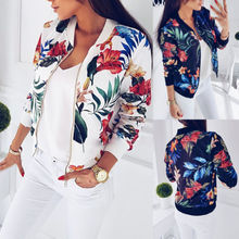 Fashion Women Retro Floral Zipper Bomber Coat  Female Outwear Stylish Casual Jacket