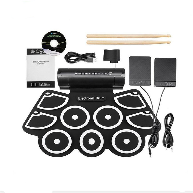Portable Practice Instrument 9 Beat Built-in Speaker Roll up Electronic Drum Pad Kits with 2 Foot Pedals and Drum Sticks 9 pad silicon roll up electronic drum with drum sticks and usb cable for midi game percussion instrumenst drum lover