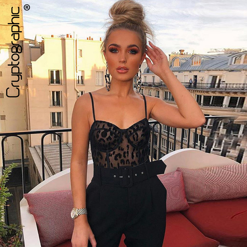 Cryptographic black lace mesh sheer bodysuit slim sexy jumpsuits teddies catsuit fashion body 2019 strap sleeveless bodysuits