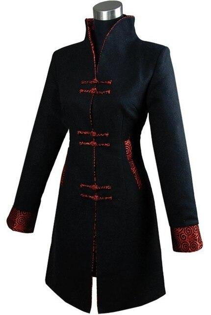Черный Моды Толщиной Кашемир Китайской традиции женская Длинные Пальто Куртки Верхняя Одежда Размер S, M, L, XL, XXL, XXXL
