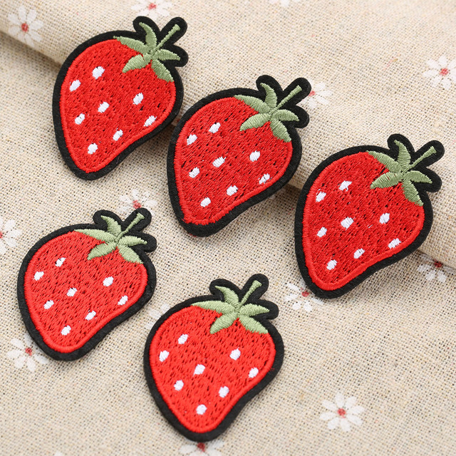 Badge Jean Fraise Vêtements Autocollants De Patch Pour Fruits Veste I615wTxqxg