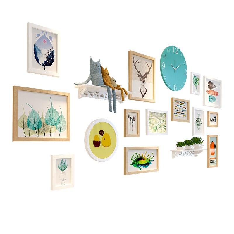 14 pz Cornici + Orologio + Mensola di Casa Appeso Album di Foto per Foto Combinazione Muro Photo Frame Set di Legno cornici Set - 5