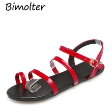 Bimolter Summer Women PU Sandals Narrow Band Buckle Design Cover Heel Flat With Shoes Female Gladiator Flats Red FB023