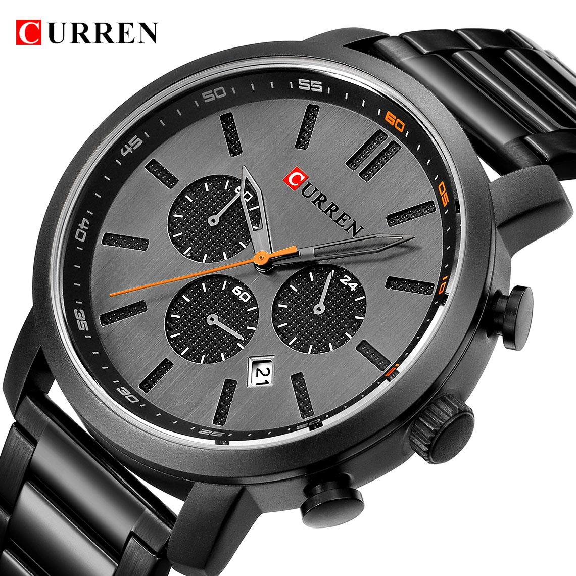 Men Sport Watch CURREN Fashion Brand Men Stainless Steel Quartz Army Military Wrist Watch Waterproof Chronograph Business Watch цена