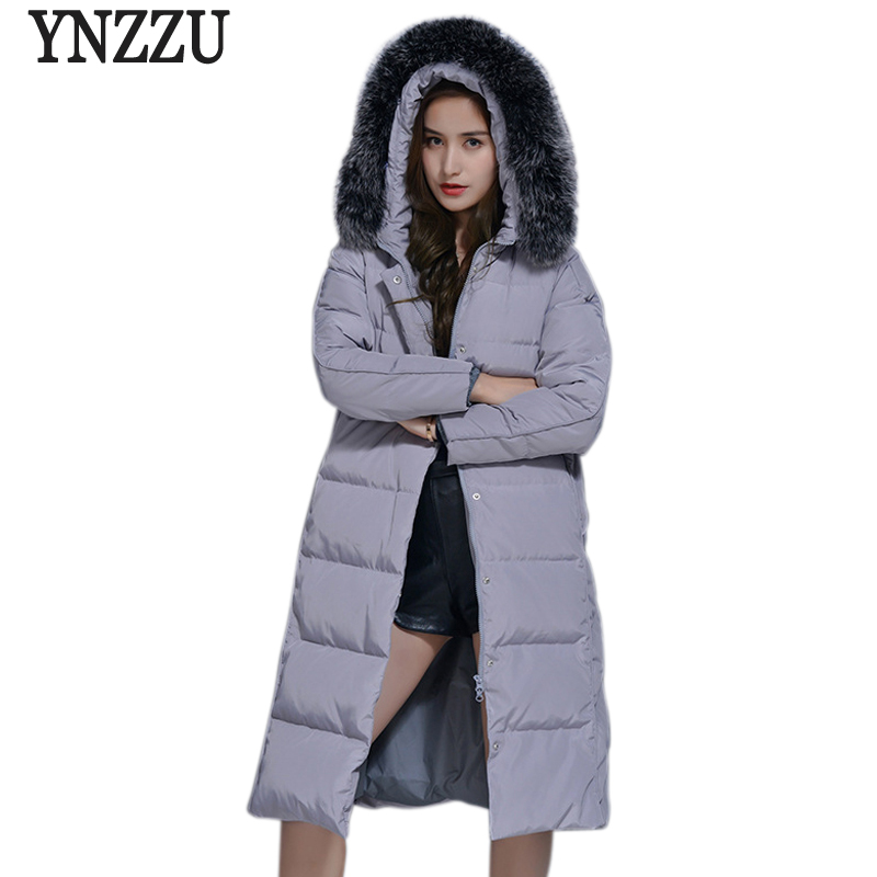 YNZZU 2017 Winter Women's Down Jacket Korean Style Casual Long Duck Down Coat Thick Warm Fur Collar Hooded Female Jacket YO472 2017 winter down jacket male korean version of self cultivation hooded thick in the long fashion trend of youth style downjacket
