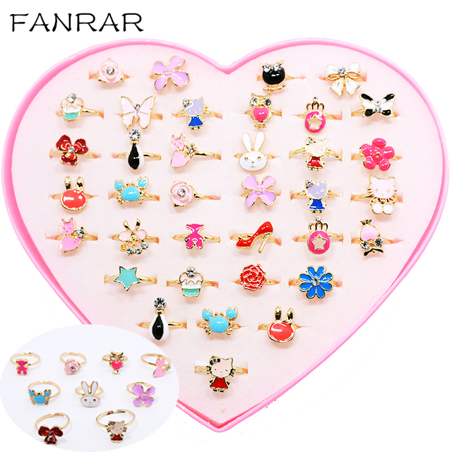 Wholesale Mixed Cute Assorted Flower Gold Enamel Adjustable Rings Baby Kids Girls Styles Party Gift Jewelry With Display Box R82