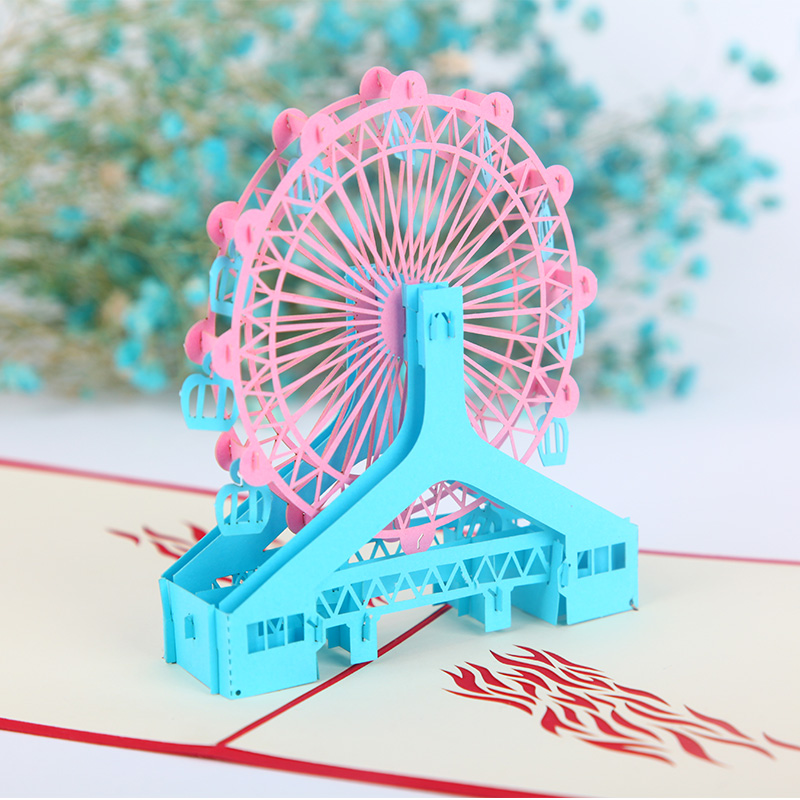 3D pop up handmade laser cut vintage cards London eye creative gifts postcard birthday greeting cards for lovers