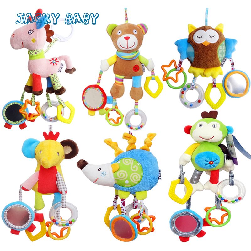 Baby Toys 0-12 Months Cartoon Plush Animals Baby Rattles Stroller Toys With Teether Mirror Bebe Oyuncak Brinquedos Para Bebe baby toys early developmental plaything brinquedos bebe eletronicos action animis free shipping 366c