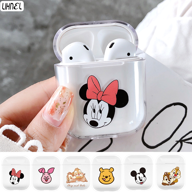 Bags For Air Pods Miki Minnie Mouse Dale Chip Bear Piglet Cartoon PC Clear Case For Apple Airpods Wireless Bluetooth Earphone