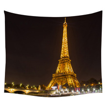 Night view of Paris Tapestry Bedroom Living Room Decoration Big Beach Mat Kawaii Table Creative Household Products