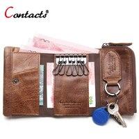 CONTACT S Genuine Leather Men Wallet Fashion Key Wallet Multi Function Coin Purse Housekeeper Keys Women