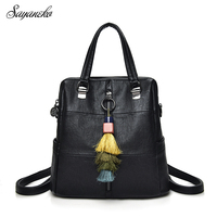 Women Bags Backpack Leather 2018 Shoulder School Bags Tassel Rugzak High Quality Female Femme Top Handle