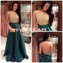 2016 New Fashion High Neck A Line Dark Green Abendkleider Mit Gold Spitze Top Taft Abendkleid Lange Frauen