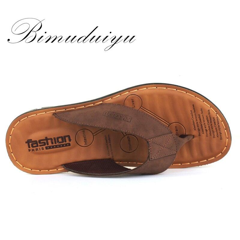 BIMUDUIYU Männer Flip Flops Casual Männer Schuhe Aus Echtem Leder - Herrenschuhe - Foto 4