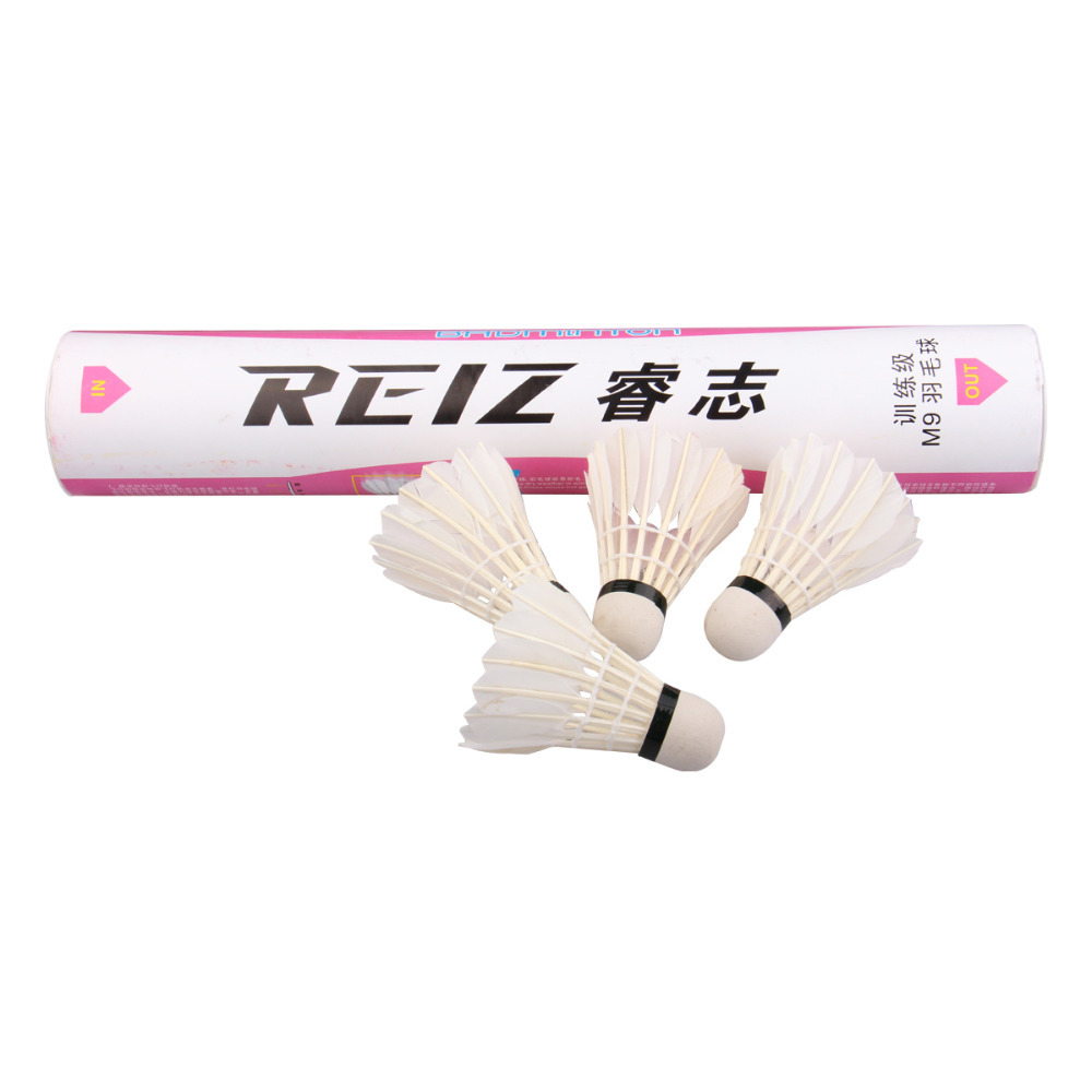 Free Shipping 12pcs/lot High Quality 12Pcs Training White Teal Feather Badminton Shuttlecocks Wholesale M9