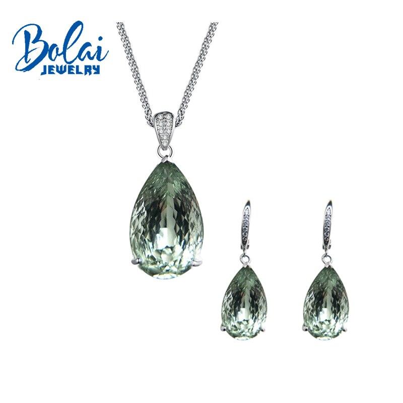 Bolaijewelry, naturel réel vert améthyste pendentif et boucle d'oreille ensemble de bijoux 925 en argent sterling pour les femmes anniversaire De Noël boîte
