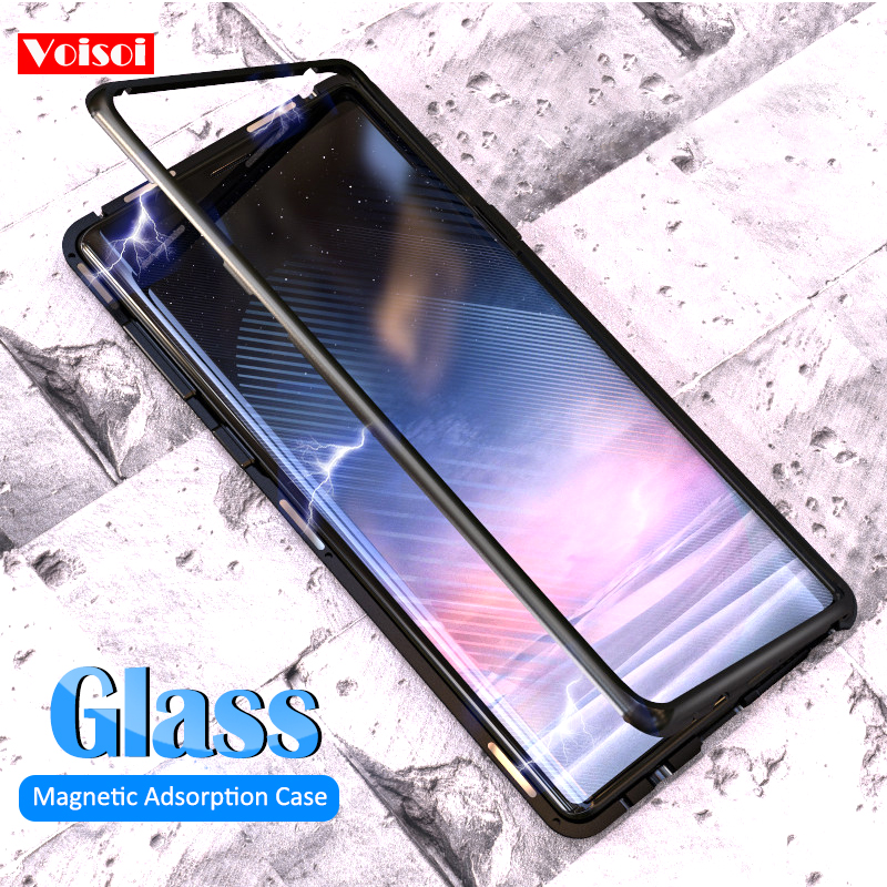 Magnetic Case for Samsung Galaxy Note 8 Note 9 Clear Glass