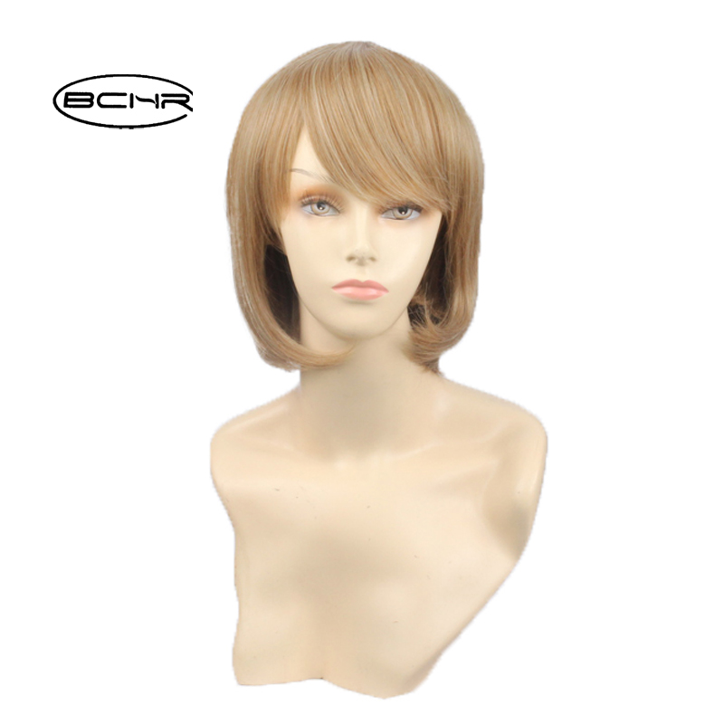 BCHR Natural Looking Women Short Straight Synthetic Wig Heat Resistant Blonde Highlights Silky Straight Wigs ...