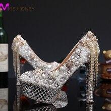 2016 Luxury Crystal Pearl High Heels Bridal Wedding Dress Shoes Lady White Pearl Rhinestone Party Dress Shoes Thin Heels Shoes