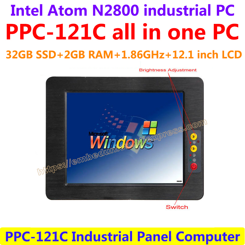 PPC-121C All In One Computer 12.1inch Intel atom N2800 industrial panel pc with resistance touch screen 32G SSD 2G RAM Computer 14 inch oem touch screen all in one pc industrial embedded computer 8g ram 512g ssd 1tb hdd with intel celeron 1037u 1 8ghz cpu
