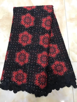 2018 High Quality Nigerian Lace Fabric With Stones Double color African French Lace Fabric Embroidered Tulle Mesh Lace LYY902B