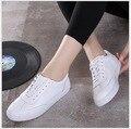 Mujeres zapatos de cuero Genuino Con Cordones pisos blanco zapato inferior Suave Zapatos mocasines Casuales