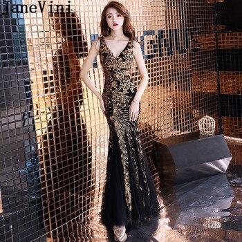 JaneVini Luxury African Formal Evening Dress Arabic Gold Sequins Black Mermaid Brides Mother Dresses for Weddings V-Neck Gowns