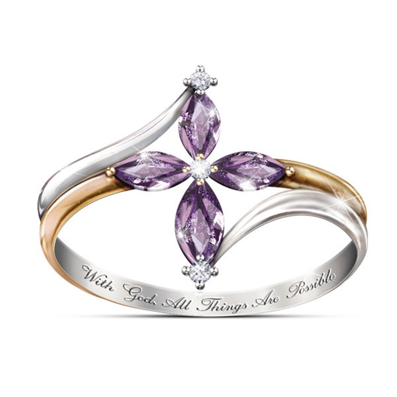 Faith Conquers All Amethyst Cross Ring 6