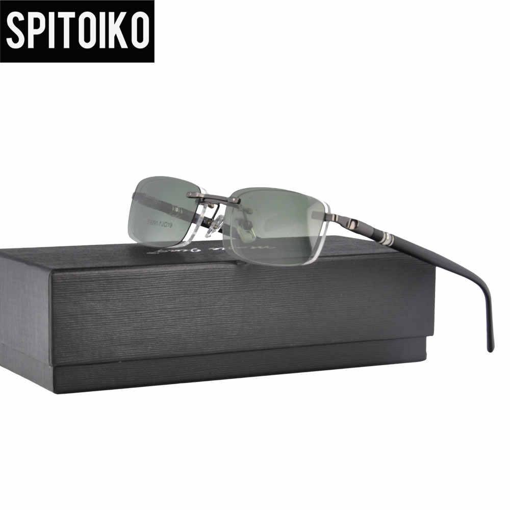 f9317d0e848 Spring Hinge Rimless Magnetic Clip On Sunglasses Men Polarized Metal  Optical Frame Sun Glasses S9091