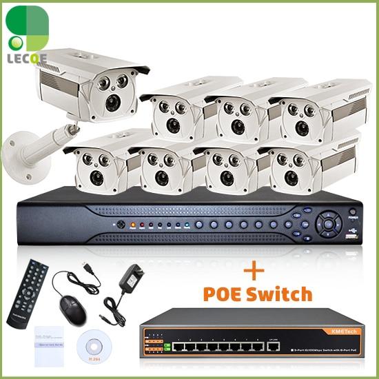 16CH 2 SATA NVR 8Pcs POE 1080x720P 1.0MP Camera 8ch Poch Switch CCTV - Securitate și protecție