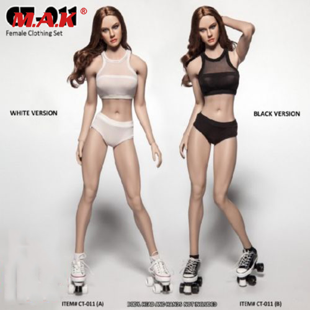 CT011A B 1 6 Female Clothes Set Women s Fitness Underwear Set White Black Clothing Set