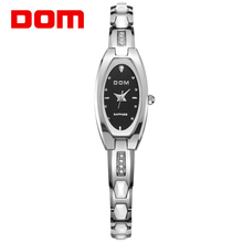 DOM Fashion Row Wear-resisting Tungsten Steel Bracelet Watch Crystal Anti-scratch Casual Water Resistant Watches Lady Wristwatch