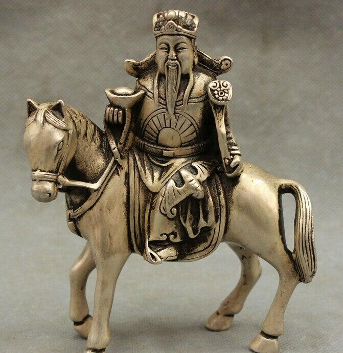 Ev ve Bahçe'ten Statü ve Heykelleri'de Çin Taoizm FengShui Gümüş At Mammon'un Servet YuanBao RuYi Jambhala Heykeli title=