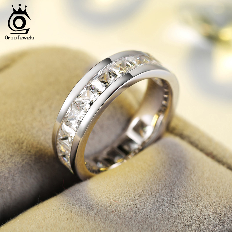 ORSA JEWELS 2018 Fashion Silver Color Rings with 15 Pieces Shine AAA Austrian Cubic Zirconia Wedding Rings for Men & Women OR145 цены онлайн