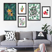 Nordic Style Modular Wall Art Poster&Print Watercolor Plant Tropical Leaf Flower Cactus Canvas Printing Wall Picture Living Room