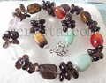 Smokey Quartz Crystal Jade Mixed Stone Necklace Earring