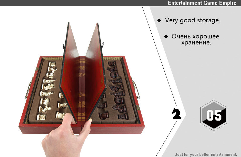 2 Yernea High-grade Wooden Chinese Chess Game Set Folding Chessboard Chinese Traditions Chess Resin Chess Pieces New Board Game (5)