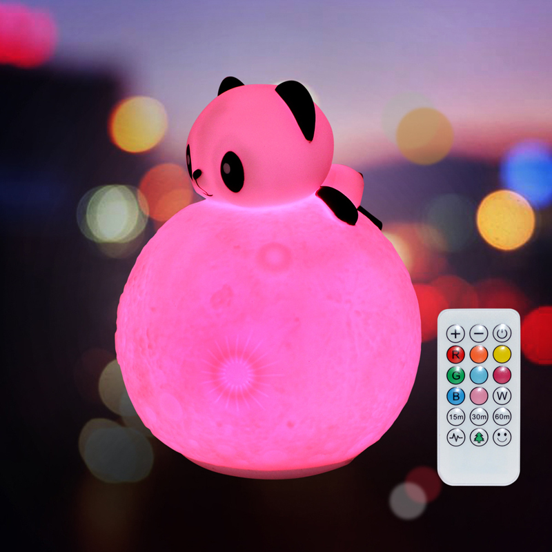 3D Moon light Silicone Touch Sensor Remote LED Night Light Colorful Cartoon Panda style decorative lamp Children Baby Kids gifts