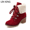 LIN KING New Winter Snow Boots for Women Patchwork Lace Up Nubuck Leather Martin Boots Round Toe Square Heels Warm Plush Shoes