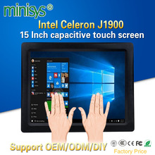 Minisys Intel J1900 CPU 15 Inch Industrial Fanless All In One Panel PC Multi Points Touch Capacitive