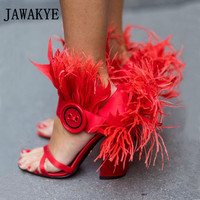 JAWAKYE New Red Fur Sandals Women Ankle Buckle Button Chunky High Heels Summer Feather Shoes Party Sandals zapatos mujer