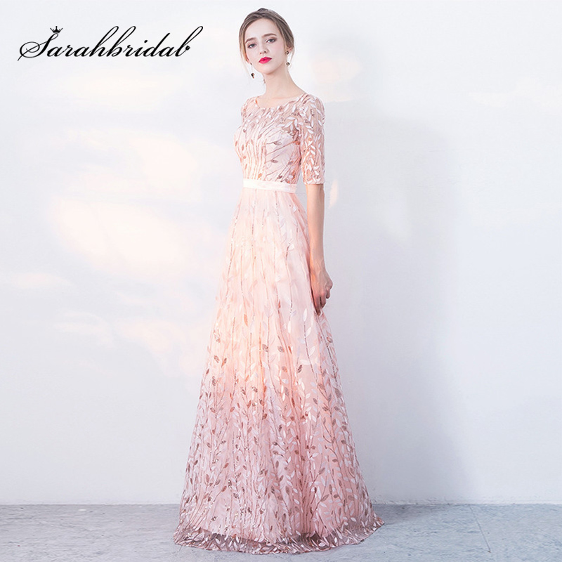 Elegant Lady Princess Slim Prom Dresses Pink A-Line Half Sleeve Evening Gown 2019 New Arrival Female Maxi Pageant Dress L3110