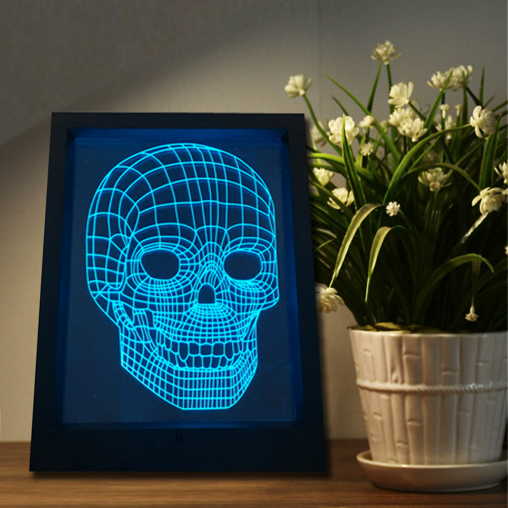 3D Photo Frame Lamp Skull 7 Color Wall lamp USB 3d Night Light Touch Remote Acrylic LED Illusion Bedroom Light Footpath lights