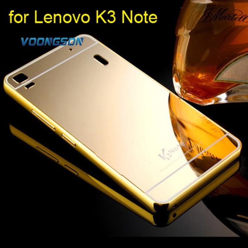 VOONGSON For Lenovo K3Note Plating Aluminum Metal Frame Case For Lenovo K3 Note A7000 Mirror Acrylic Back Cover Phone Cases
