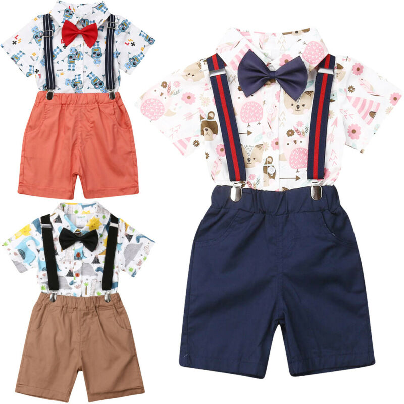 Infant Floral Overalls Bib Short Pant Clothes Set for 6M-4T 2Pcs Toddler Baby Girl Top Bow Tie Shirt