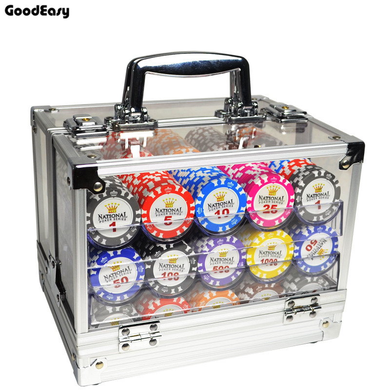 600PCS/1000PCS Casino Gold Crown Texas Hold'em Poker Chip Sets Baccarat Black Jack Poker Metal Coins With Acylic Box&Trays