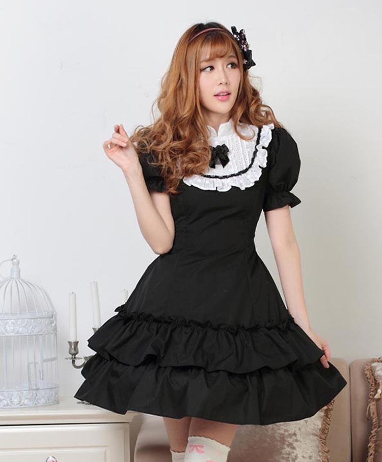 Plus size Solid Black Royal Style Princess dress short puff sleeve ruffles hem bow tie maid