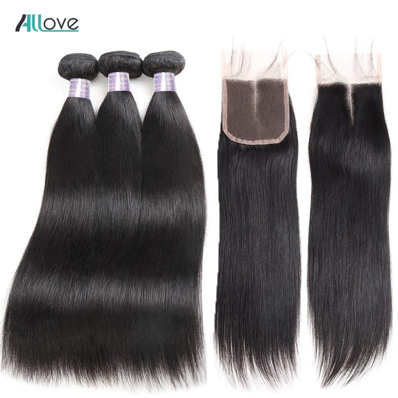 Straight Hair Bundles with Closure Brazilian Hair Weave Bundles with Closure Allove Human Hair Bundles with Closure Non Remy