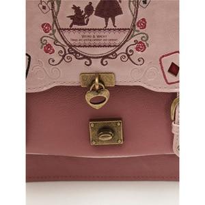 Image 5 - Alice In Wonderland Shoulder Bags axes femme vintage student schoolbag playing cards Silhouette handbag leather bag